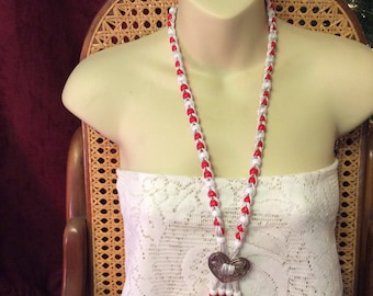 Red and white acrylic beads heart charm lariat necklace.