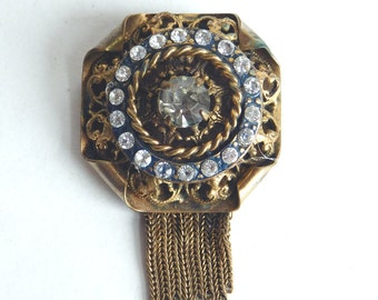 Vintage Brass and Rhinestone Brooch w/ Chain Fringe, Probably Czech - Large Goldtone Pin - Ornate Victorian Style - Filigree - Shabby Chic