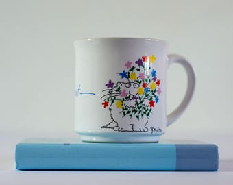 Susan Boynton Coffee Mug Wishing You the Best Cat with Flowers Floral Bouquet Coffee Cup Gift
