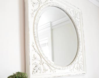 Carolina Mirror Vintage - White Distressed on Gold Round Mirror with Square Frame -Chic and Stylish, traditional or cottage