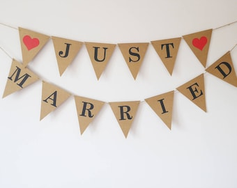 Wedding decoration, Just married wedding bunting, Rustic, Boho