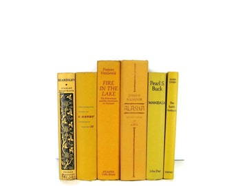 RESERVED OPTION  Yellow Decorative Books , Yellow  Vintage Books ,   Photo Prop , Bookshelf Decor , Table Setting , Wedding Decor