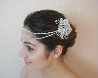Bridal Rhinestone Headpiece, Flower Crystal Hair Clip, Rhinestone Chains, Swarovski Crystals - Ester