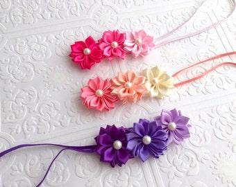 The Ombre Pinwheel Trio Headband or Hair Clip- Your Color Choice