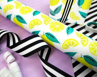 Lemon Gift Wrap, 3-Sheet Roll