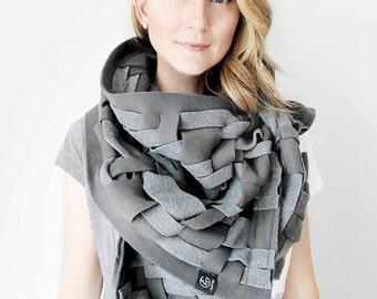 Grey Scarf Wraps Shawls Unique Handmade Scarves Blanket Scarf Handwoven Oversize Scarf Weaving Fashion Scarves Womens Scarves Warm Shawl