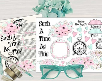 """Printable Bible Journaling Page Kit - """"Esther"""" - Complete kit for Bible Pages or Journals. Fits all Journaling Bibles."""