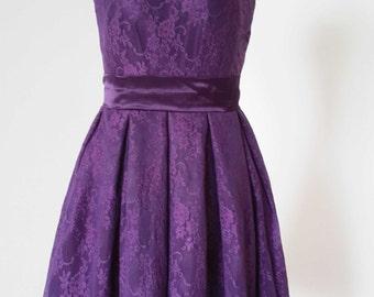2015 A-line Dark Purple Lace Short Bridesmaid Dress