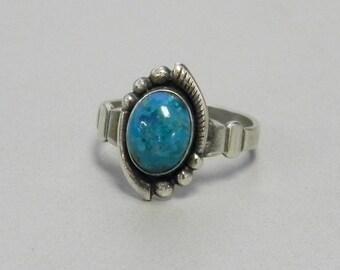 Estate Vintage Sterling Silver Chrysocolla Ring Pinky Midi Southwest