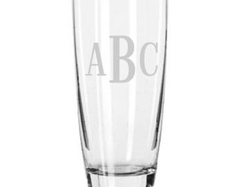 7 Personalized Cooler Drink or Beer Glasses Roman Monogram Custom Engraved.