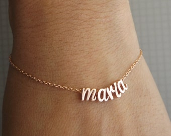Silver, rose gold or gold plated custom name bracelet, initial bracelet, name jewelry, initial jewelry, women's bracelet ,personalized gifts