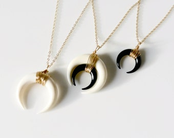 Double Horn Necklace, Moon Necklace, Black or White Bone Horn Necklace , Gold or Silver Crescent Necklace, Boho Necklace, Layering Necklace