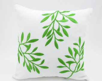 Leaf Pillow Cover, Decorative Throw Pillow, White Linen Pillow, Green Leaves, Embroidered, Floral Couch Pillow, Botanical Cushion Cover