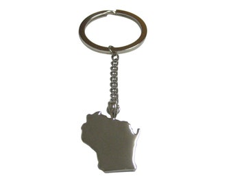 Wisconsin State Map Shape Pendant Keychain