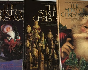 Vintage Craft Books   The Spirit of Christmas  Books  1-3   Full Size Patterns Included