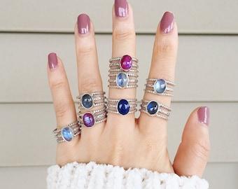 Sterling silver moonstone, labradorite ,lapis ring