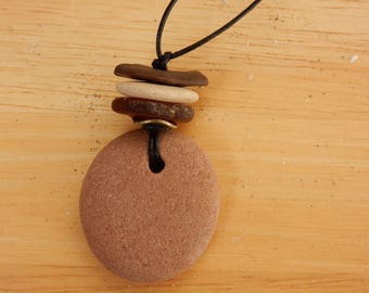 A gift for Him or Her BOHO Style Stacked Rock Cairn Pendant. 3 Rocks, 1 Piece of Sea Glass with Antique Bronze Wavy Spacer Necklace.