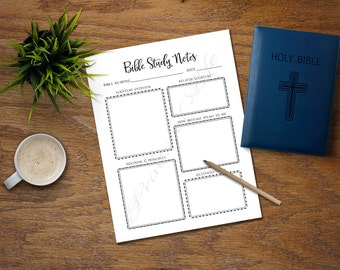 Bible Study Notes. PDF printable. Instant download. Church journal. Scripture planner. Worksheet. Lesson. Notebook. Bible verse. Reading.