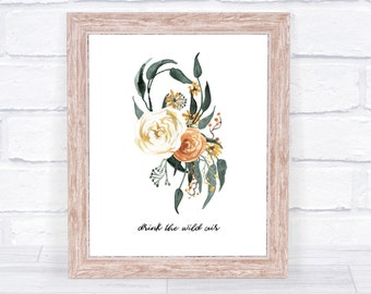 Drink The Wild Air Art Print, Fall Wall Decor, Printable Download, Instant Download, Fall Art Print, Green and Orange, Print Fall Floral