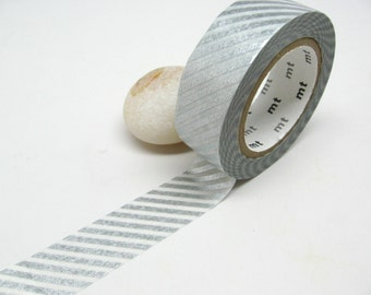Metallic Silver Stripe Washi Tape by MT Japan , 15mm x 10m
