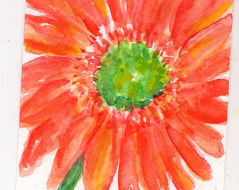ACEO Orange Gerber daisy watercolor painting, original flower art card, hand painted, not a print