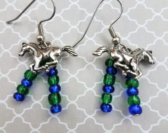 Handmade Silver Colt Dangling Earrings with Blue & Green Glass Bead Bling on Nickel Free Fish Hooks