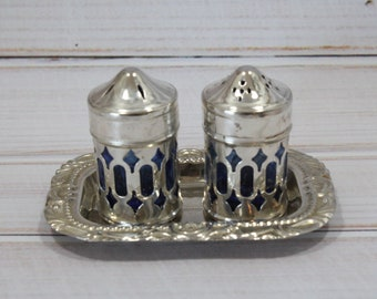 Cobalt / Silver Salt and Pepper Shaker Set with Tray