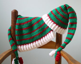 Christmas Stocking Hat, Santa's Elf Hat, Holiday Cap, Crochet Stocking Hat, Men, Women, Boys, Girls, Clothing, Accessories, Christmas Gift