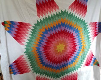 Fabric rainbow  bedding quilt top red blue green orange yellow