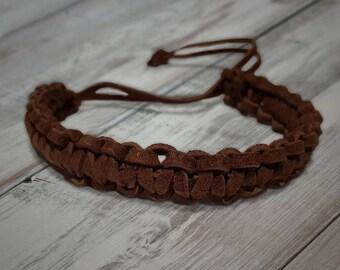 Brown Leather Survival Bracelet