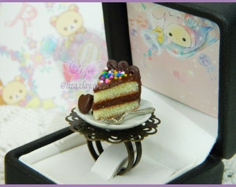 Cake Ring / Kawaii Ring / Miniature Food Ring / Cake Earrings