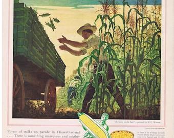 1942 N.C. WYETH Green Giant Corn Bringing in the Ears Print Ad Harvest Farm