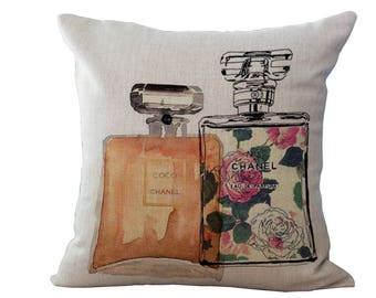 Vintage Designer Two Perfume Bottle Linen Cushion Cover 45x45cm Home Decor