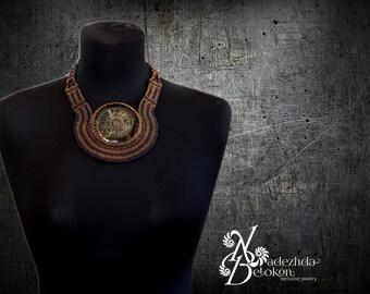 Ammonite necklace beading. Beadwork jewelry fossil simbircite choker. Gemstone jewelry handmade