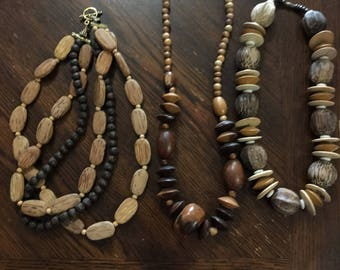 3 Vintage wood necklaces
