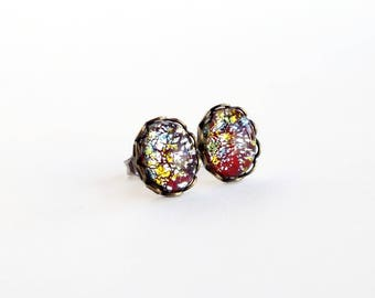 Red Glass Lampwork Post Earrings Vintage Red Foiled Glass Studs Hypoallergenic Lampwork Jewelry Red Silver
