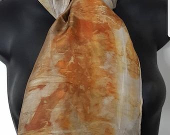 Handmade  Eco dyed 100% silk scarf.