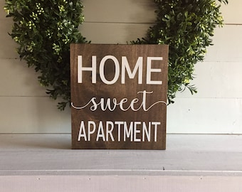 home sweet apartment, home sweet apartment sign,  wood sign, wooden sign, apartment sign, new home date, farmhouse