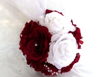 Red and white rose kissing ball rose pomander wedding flower ball