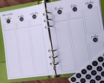 On Top of It Printed A5 Lined Week on Two Pages Planner Inserts, Vertical Weekly Lined Planner, Weekly schedule agenda