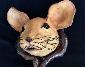 Handmade Unique  Mouse Sculpture Ceramic Wall Mouse  Original Clay Art Mask Wall Art Nature Inspired Home Decor Garden Animal Gift Mice