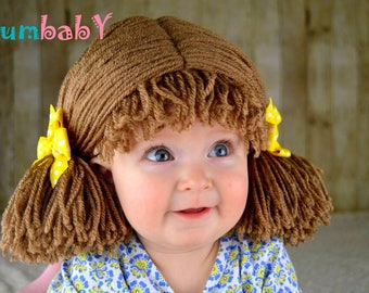 Halloween Costume, Kids Costumes, Cabbage Patch Wig Pigtail Baby Hat Brown Beanie Wigs
