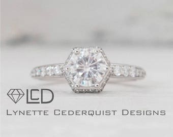 The Alexa 1 carat Forever One Moissanite Hexagon Halo Conflict Free Diamond Engagement Ring