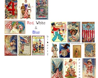 Red, White and Blue Collage Set