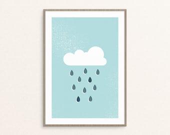 Rainy Cloud Art - Printable Wall Art, Cute Nursery Decor, Weather Wall Art, Nursery Wall Art, Baby Shower Gift, Art Print, Digital Download