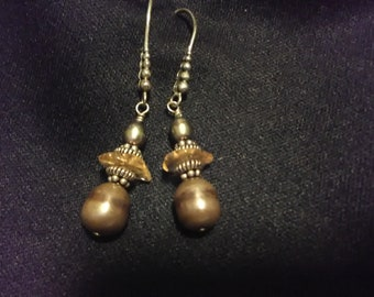 Vintage Brass and Bead Earrings/Boho Style Accessories/Dangle Drop/Jewelry/Reenactment Accessories/Simple Beaded Accents