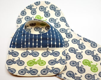 Organic Baby Bib & Burp Cloth Set - Drool Proof! - Blue and Green Bicycles