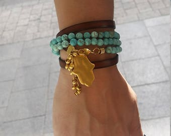 Double Strap Hamsa Gold Plated Necklace with Turquoise Stone and Leather. Can be made into a Bracelet - Gift for Her