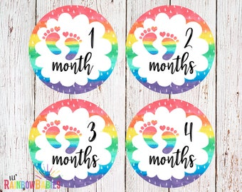 PRINTABLE Rainbow Baby Monthly Stickers, Baby Monthly Sticker, Monthly Growth Stickers, Month To Month Milestone Stickers, INSTANT DOWNLOAD