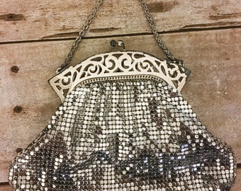 Whiting and Davis vintage mesh purse silver mesh purse silver mesh handbag silver evening bag vintage bridal purse vintage prom purse